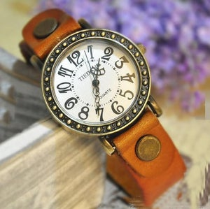 Image of Roman Handmade Vintage Leather Wrist Watch For Man & Woman (WAT0108-Light Brown)