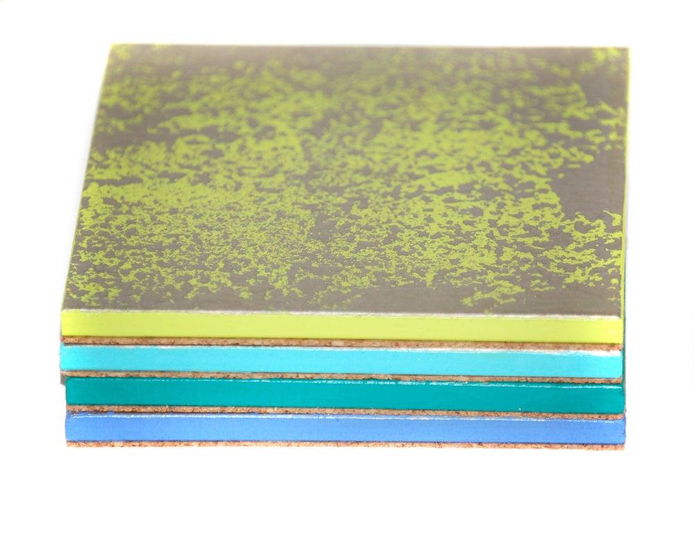 Image of Set of 4 Coasters ~ Silver leaf/Ocean