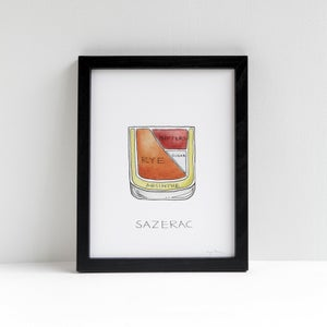 Sazerac cocktail diagram print by Alyson Thomas of Drywell Art. Available at shop.drywellart.com