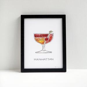 Manhattan Cocktail Diagram Print by Alyson Thomas of Drywell Art. Available at shop.drywellart.com