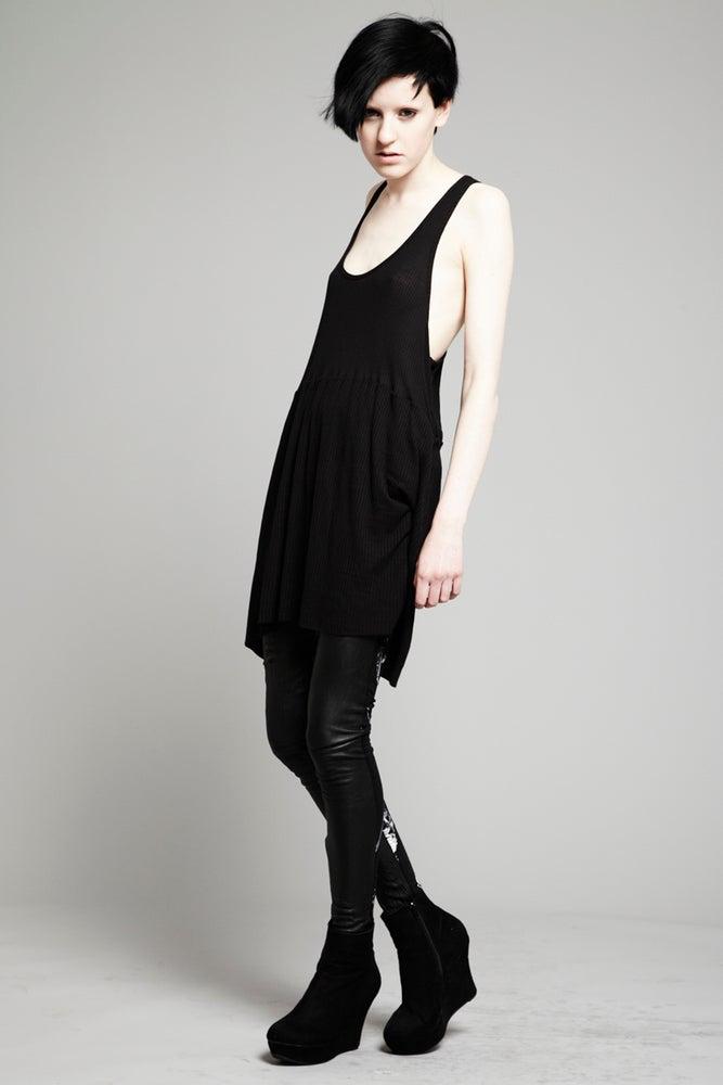Image of Black Wafer Rib Vest Dress