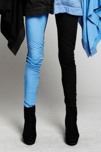 Image of Black Leggings With Blue Panel.
