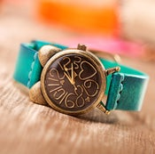 Image of Fathion Vintage Handmade Cowhide Bronze Women's Watch (WAT0116)