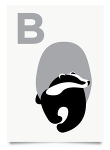 Image of B is for Badger print