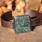 Image of Variscite Gemstone Sterling Silver & Copper Cuff Bracelet