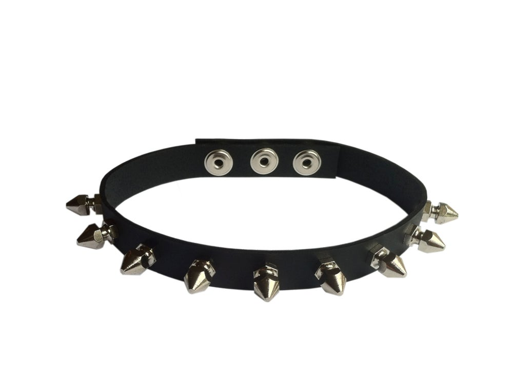 Image of leather baby bullet spike choker