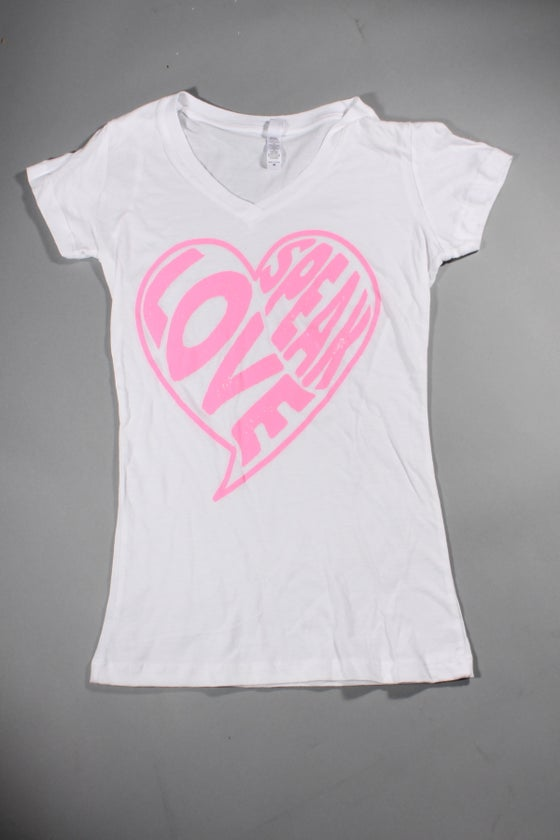 Image of White Speak Love V-Neck T-Shirt