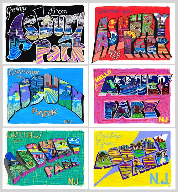Image of 6 POSTCARD PACK Greetings From Asbury Park Collection
