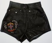 Image of One of a Kind, Faux Leather High Waist Customised 'I Heart Guns n' Roses' Shorts, Size U.K 6/8