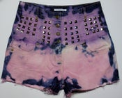 Image of One of a Kind, Customised Pink and Purple Candy High Waist Studded Denim Shorts, Size 12