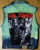Image of One of a Kind, Customised, Rob Zombie, Studded, Green Denim Waistcoat. U.K Size 12/14/16.