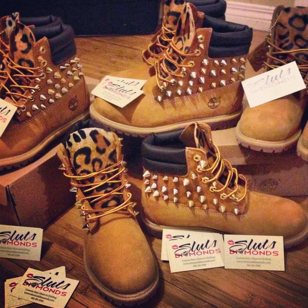 Image of Wheat Custom Spiked Leopard Timberlands