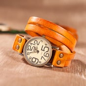 Image of Leather Bracelet Watch Exclusive Personality Retro Leather Mechanical Watch (WAT0119 - Orange)