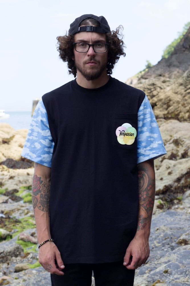 Image of Clouds cut and sew pocket T-shirt