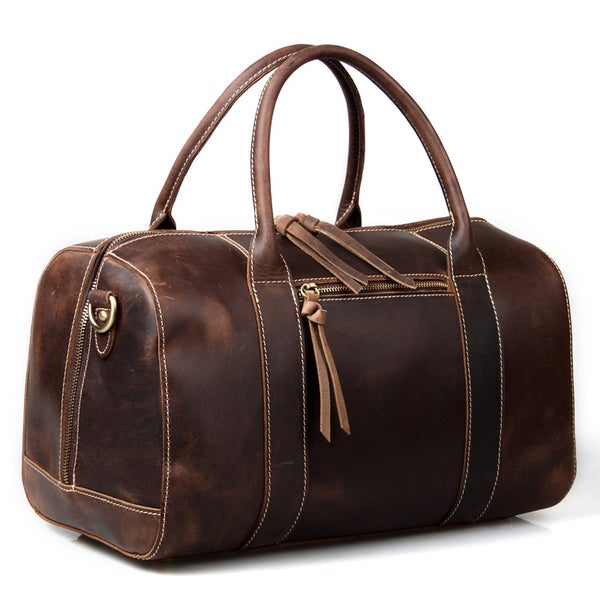 Image of Vintage Handmade Leather Travel Bag / Tote / Messenger Bag / Overnight Bag / Weekend Bag (n06)