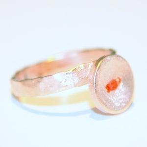 Image of Buttonring zilver-roos verguld, Wijngaardstraat, Antwerpen, juwelen, ringen, goudsmid