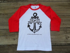 Image of Kid's Live With Less 3/4 sleeve baseball tee