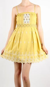 Image of Maggie - Embroidered Mustard Dress