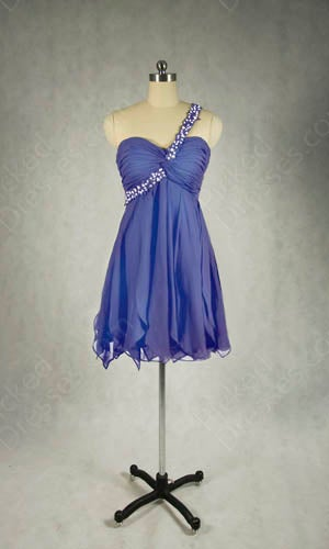 Image of Wholesale A-line One Shoulder Chiffon Short/Mini Beading Party Dress