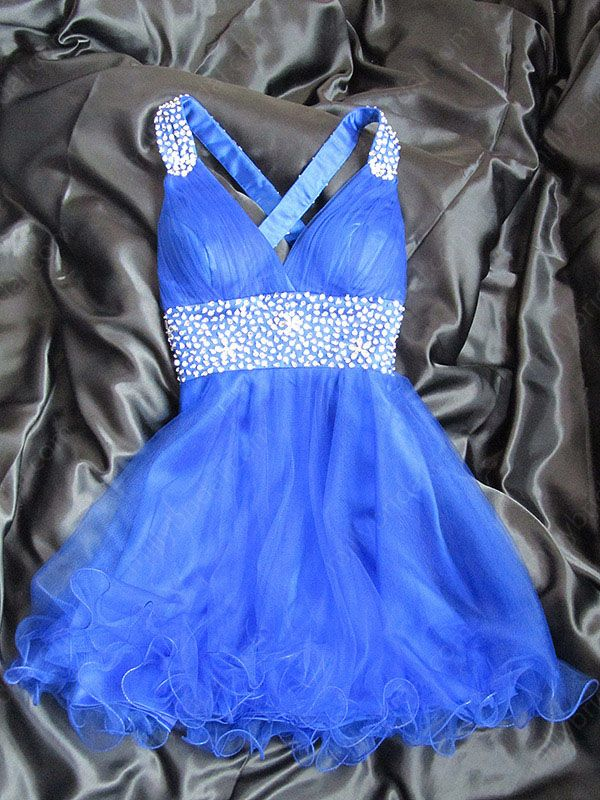 Image of A-line Straps Tulle Satin Short/Mini Royalblue Rhinestone Homecoming Dresses