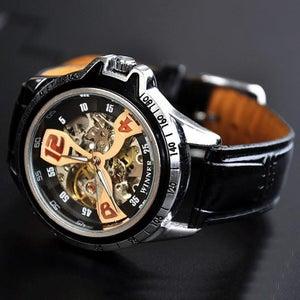 Image of Mens Steampunk Sport Watch / Fashion Leather Automatic Mechanical Watch (WAT0124)