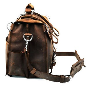 Image of Large Vintage Handmade Antique Leather Satchel / Briefcase / Travel Bag - Backpack / Messenger (n53)