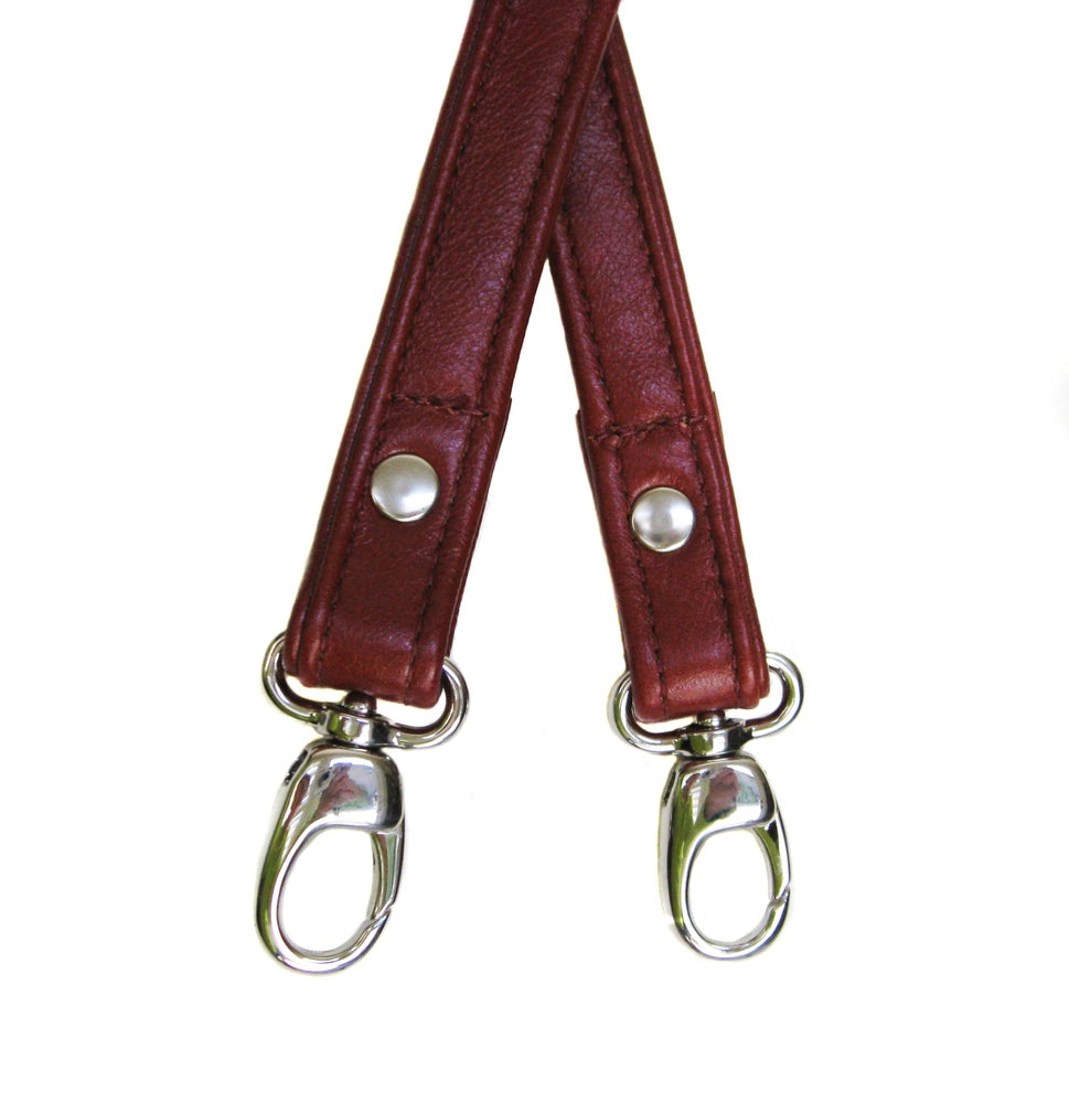 "Image of 50"" (inch) Long Leather Strap - .75""(inch)Wide - GOLD or NICKEL #17B Hooks - Choose Color & Hardware"