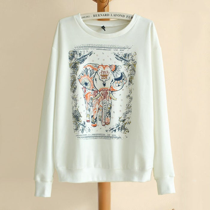 Image of Vintage Lovely Elephant Print Hoodie