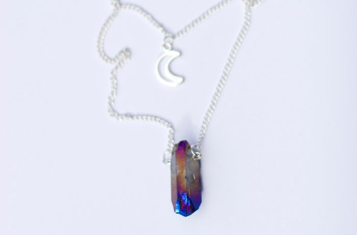 Image of Rainbow Quartz & Crescent Moon Double Crystal Necklace *NEW*