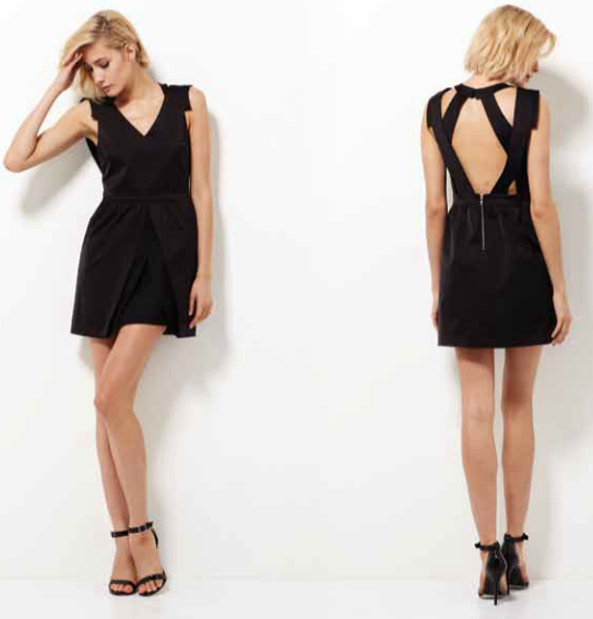 Image of Pink Stitch Folds of Time Dress Black