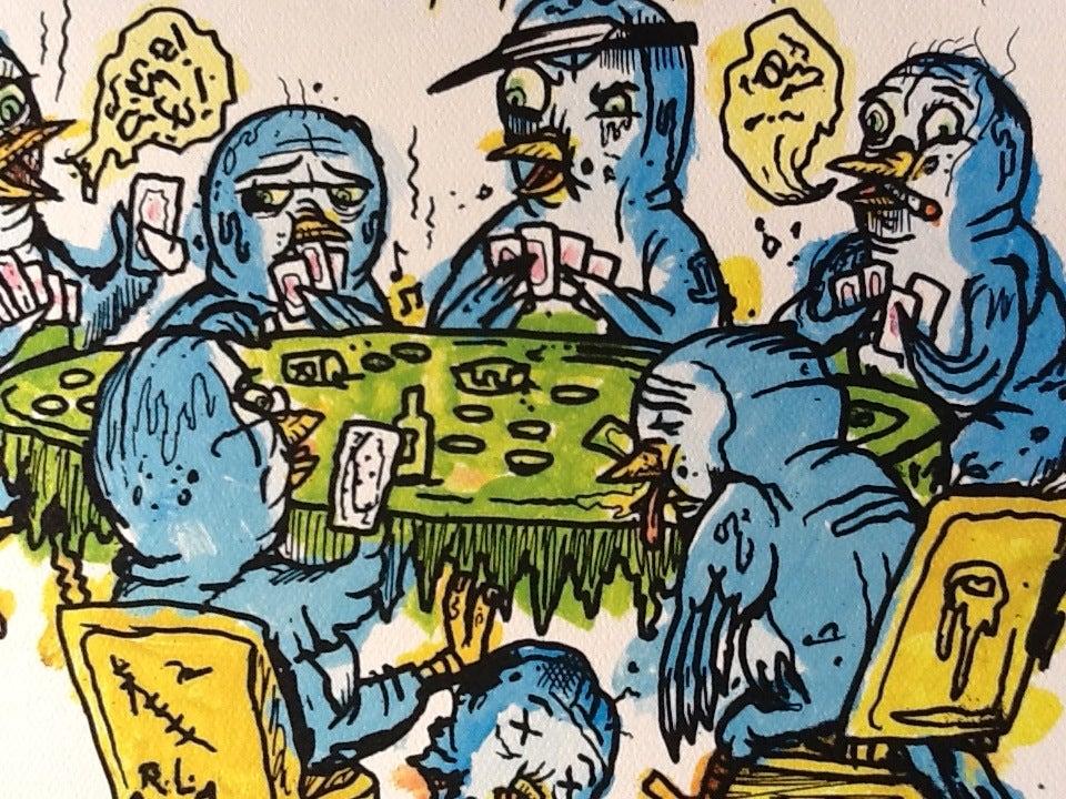 Image of Poker playin' bluebirds print