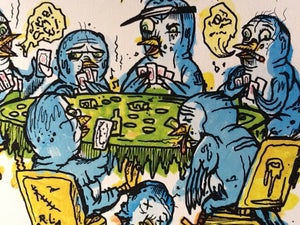 Image of Poker playin' bluebirds print