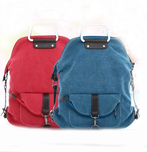 Image of  Unique PINK Multi-function Shoulder Canvas Backpack