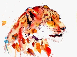Image of Snow Leopard Watercolor Print