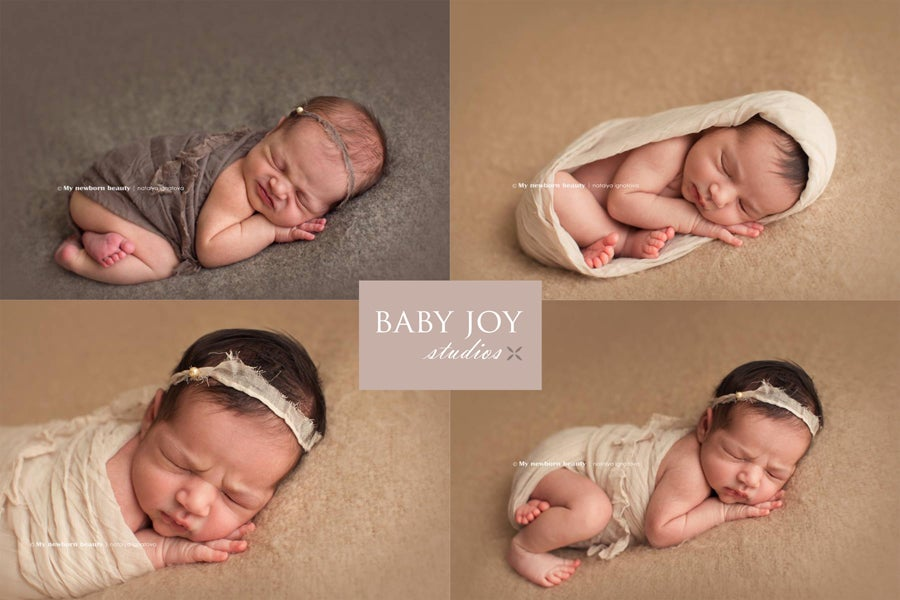 Image of {Linen gauze} Newborn Wrap & headband Set