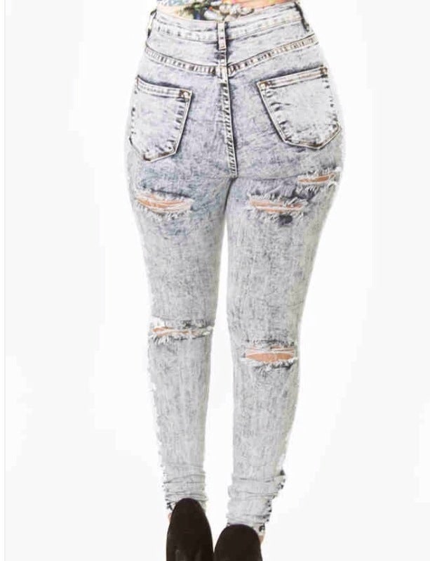 High Waist Distressed Cut Out Front u0026 Back Jeans | Kachelleu0026#39;s Luxe Couture