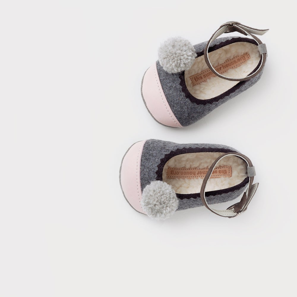 Image of wool & leather baby ballerinas with pompoms