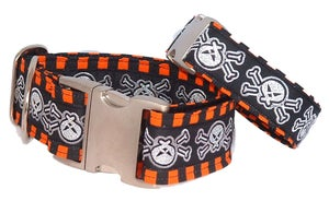Image of Skulls & Stripes - Dog Collar in the category  on Uncommon Paws.