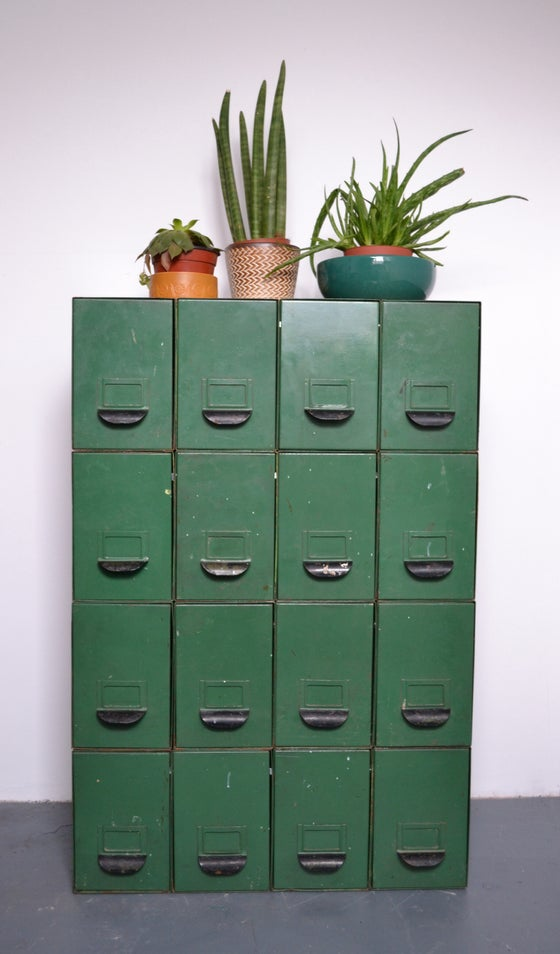 Image of 1950s industrial filing drawer system