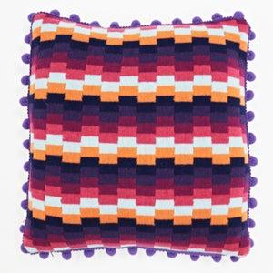 Image of Purple 'Pixels' square cushion
