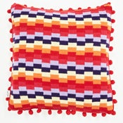 Image of Red 'Pixels' square cushion