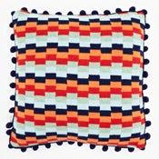 Image of Blue 'Pixels' square cushion