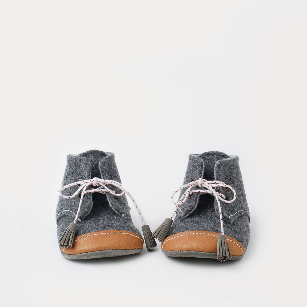 Image of wool & leather oxford baby booties