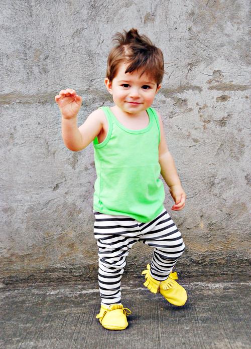 Image of organic cotton black + white striped cuffed leggings