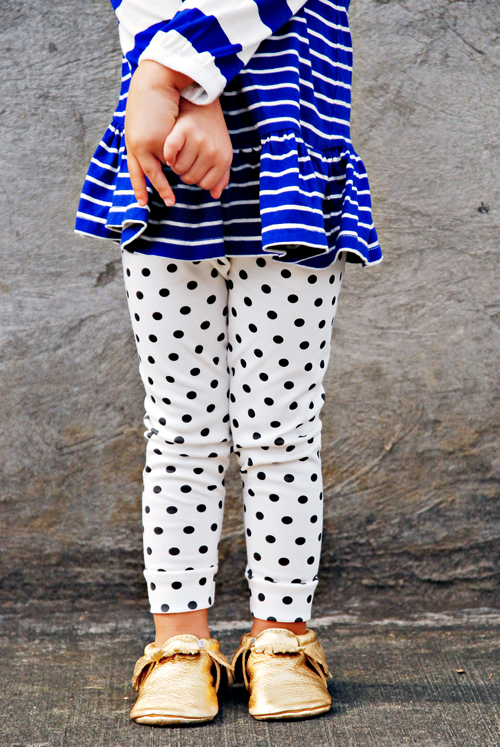 Image of organic cotton black + white polka-dot cuffed leggings