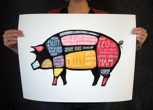 """Extra Large """"Use Every Part of the Pig"""" butchery poster 17 x 22 by Alyson Thomas of Drywell Art. Available at shop.drywellart.com"""