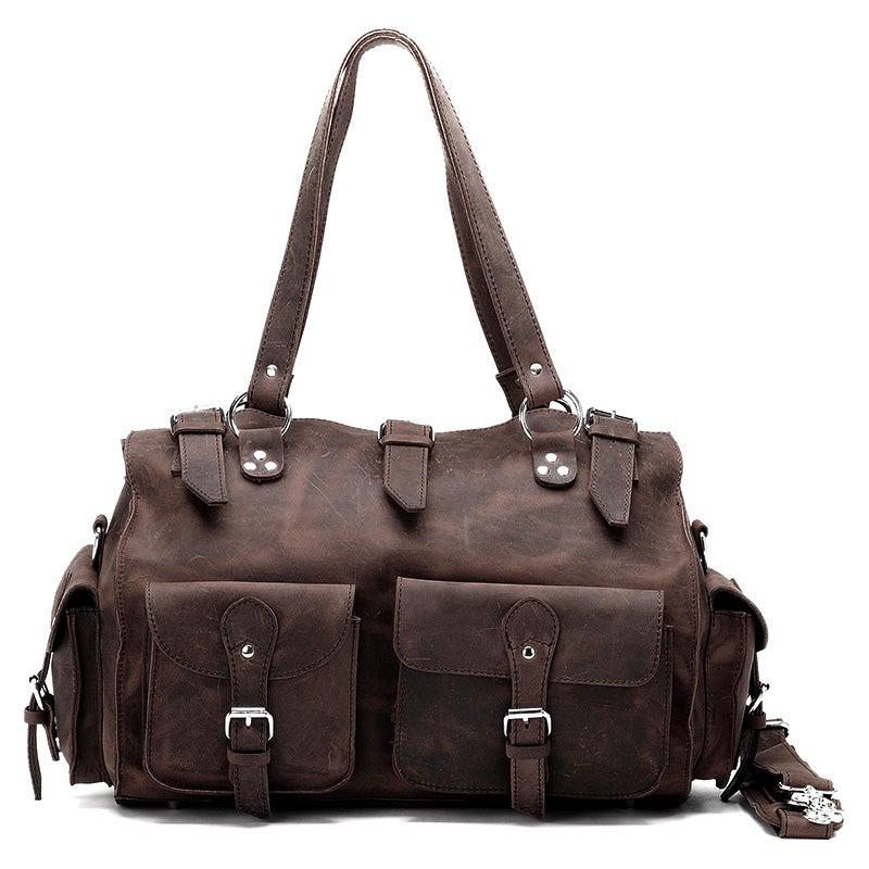 Image of Vintage Handmade Antique Crazy Horse Leather Travel Bag / Tote / Messenger / Duffle Bag (n74-2)