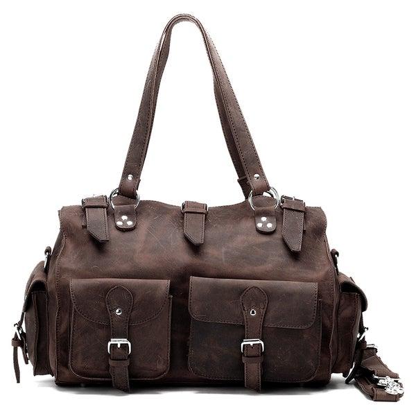 Image of Vintage Handmade Antique Crazy Horse Leather Travel Bag / Tote / Messenger / Duffle Bag (n74-2)