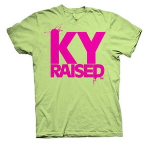 Image of KY Raised FEMALE Tee in Light Green & Hot Pink