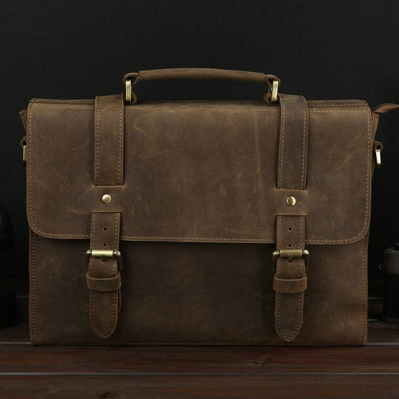 Image of Vintage Handmade Antique Crazy Horse Leather Briefcase / Messenger Bag / Laptop Bag (n59)
